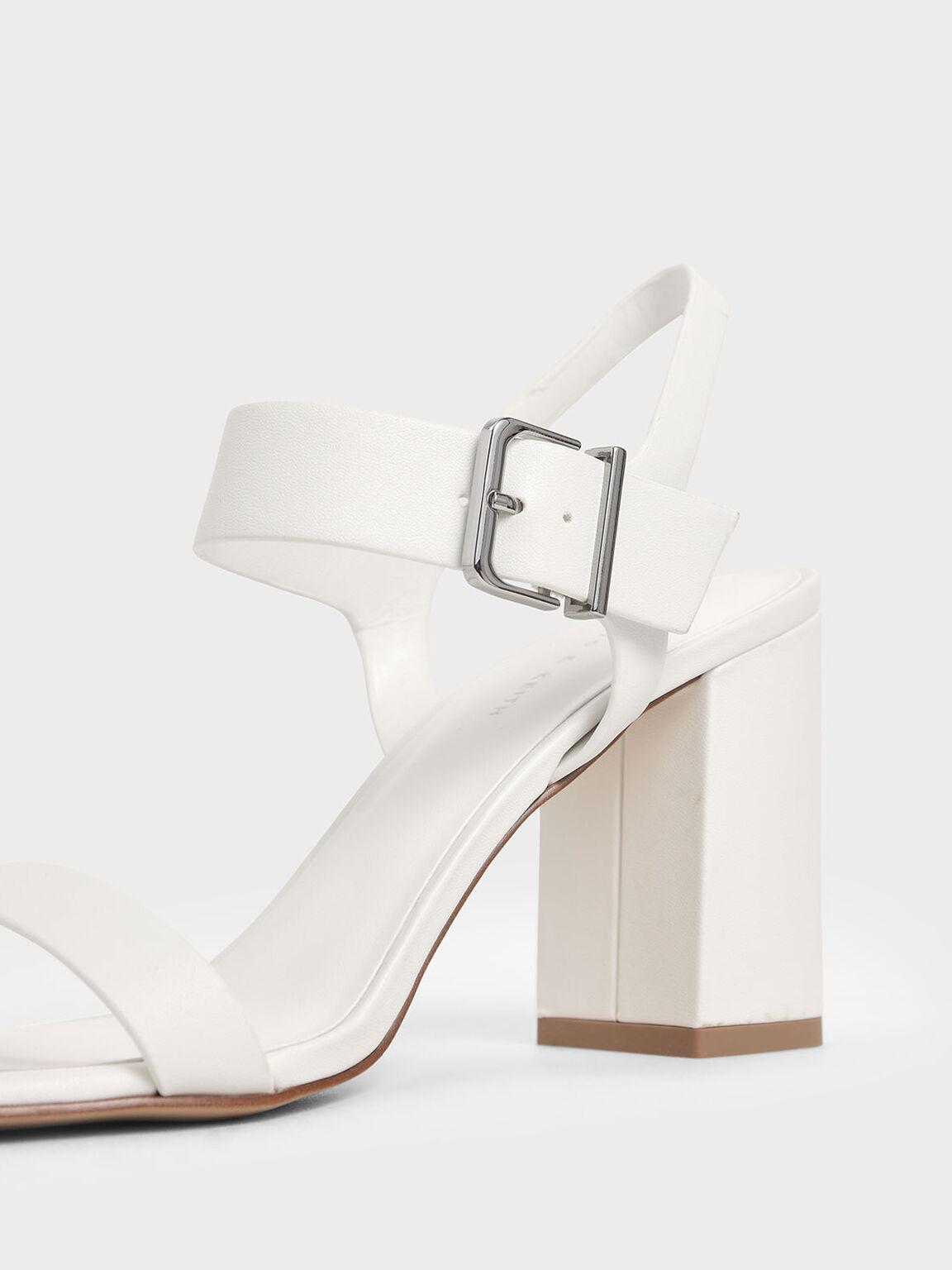 Block Heel Sandals, White, hi-res