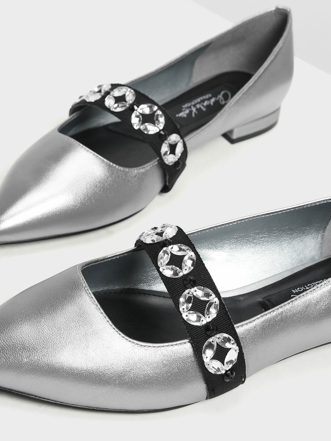 Leather Bedazzled Mary Jane Flats, Silver, hi-res