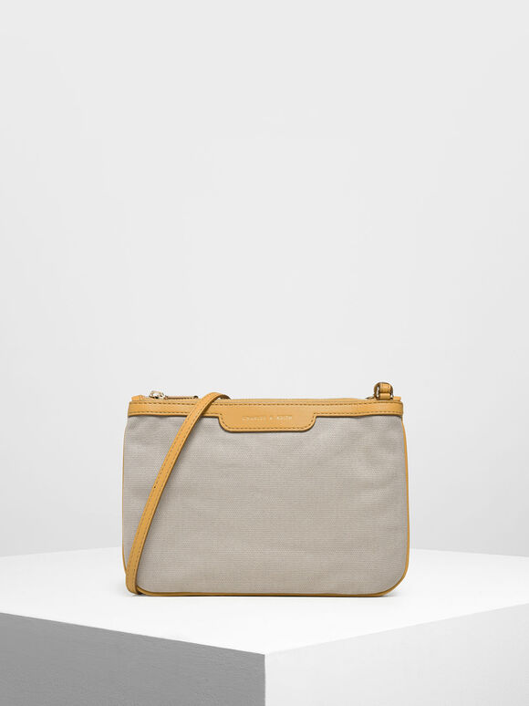 Canvas Crossbody Bag, Mustard, hi-res
