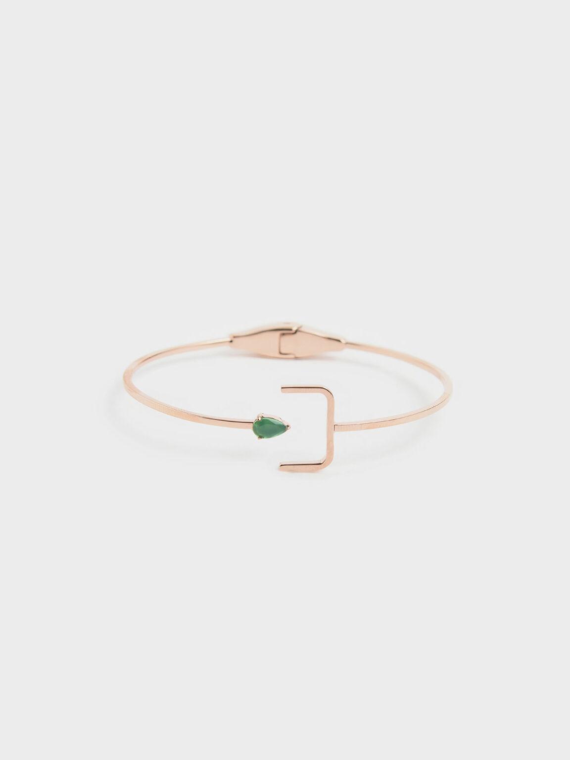 Green Agate Stone Cuff Bracelet, Rose Gold, hi-res