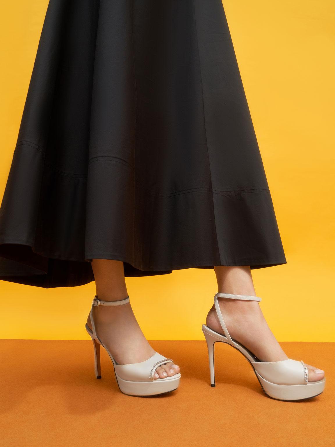 Gem-Embellished Platform Sandals, Chalk, hi-res