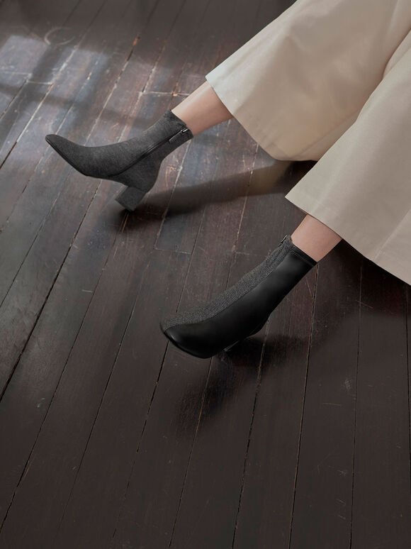 Two-Tone Block Heel Ankle Boots, Black Textured, hi-res