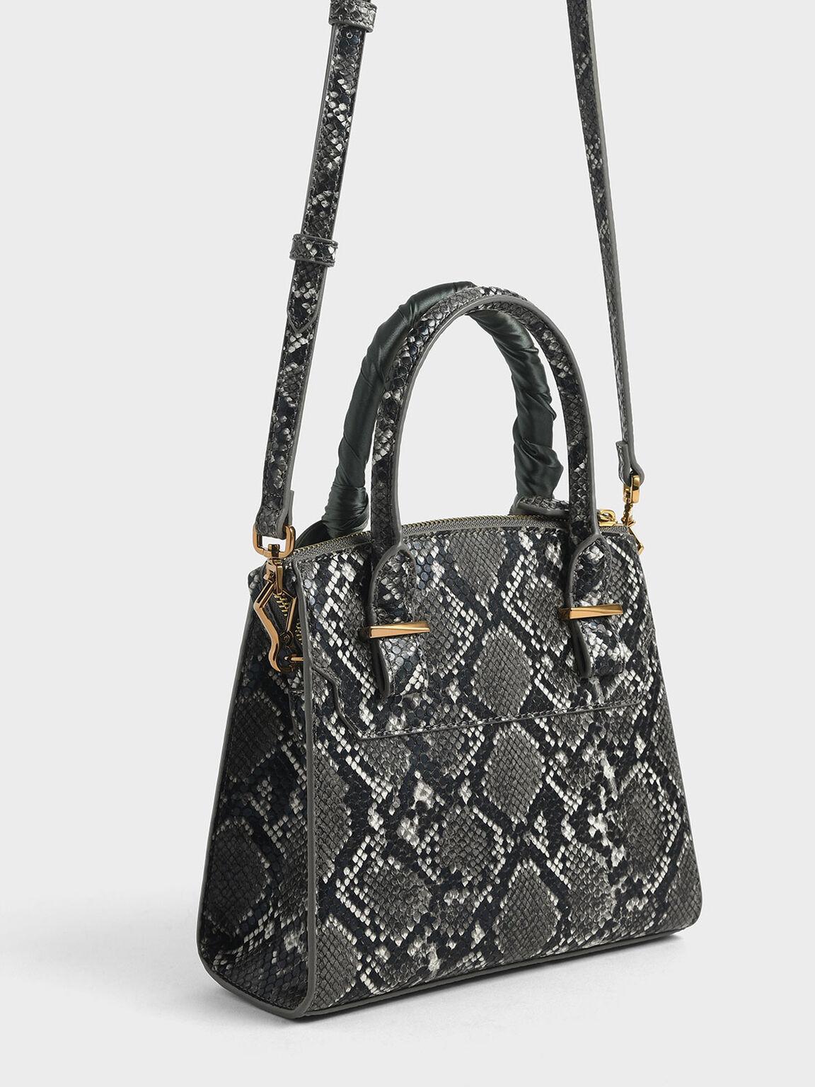 Snake Print Satin Scarf Handle Bag, Grey, hi-res