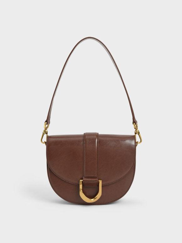 Gabine Saddle Bag, Dark Brown, hi-res