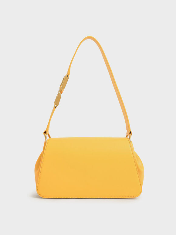 Buckle Detail Shoulder Bag, Mustard, hi-res