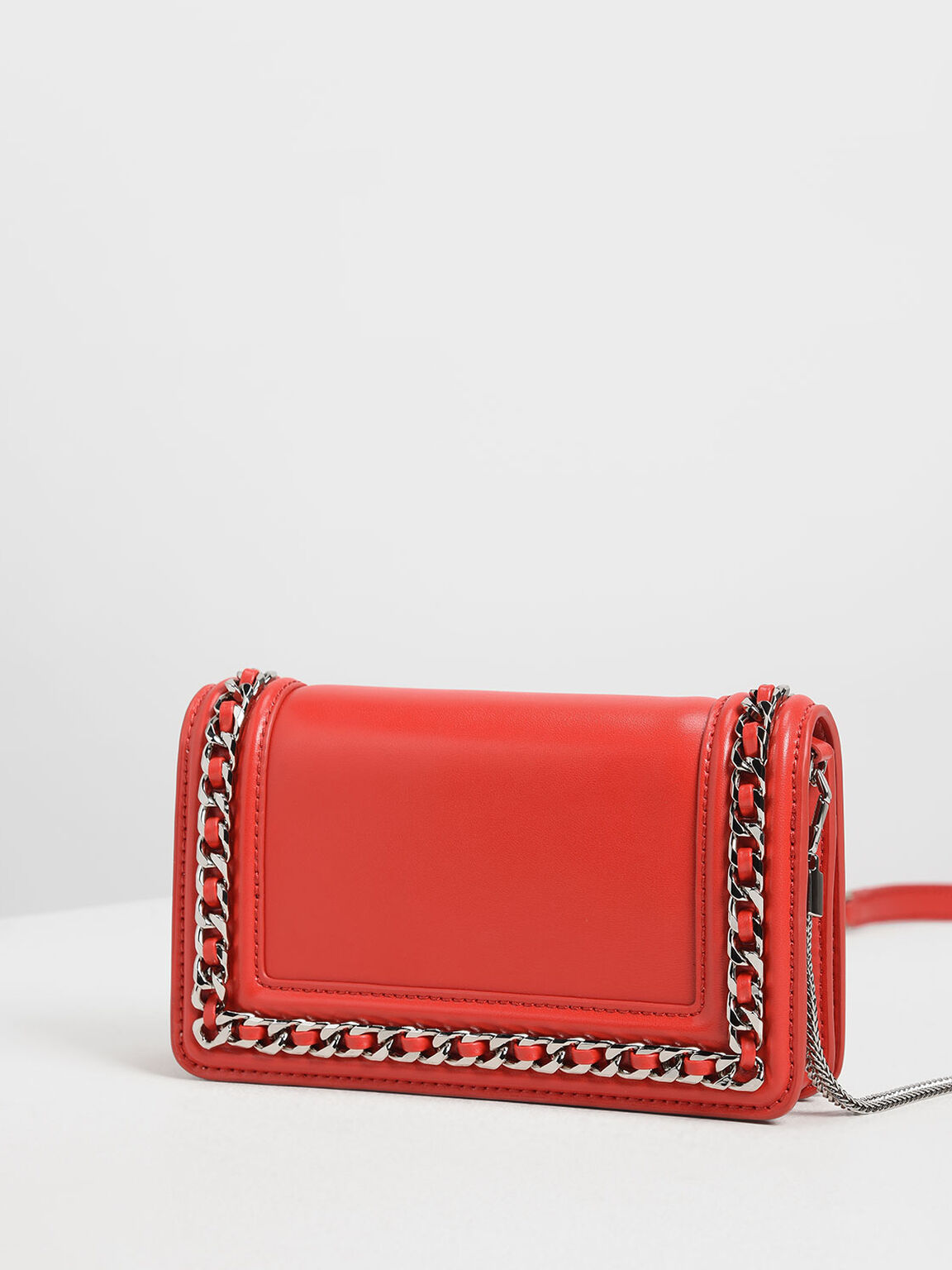 Chain Detail Clutch, Red, hi-res