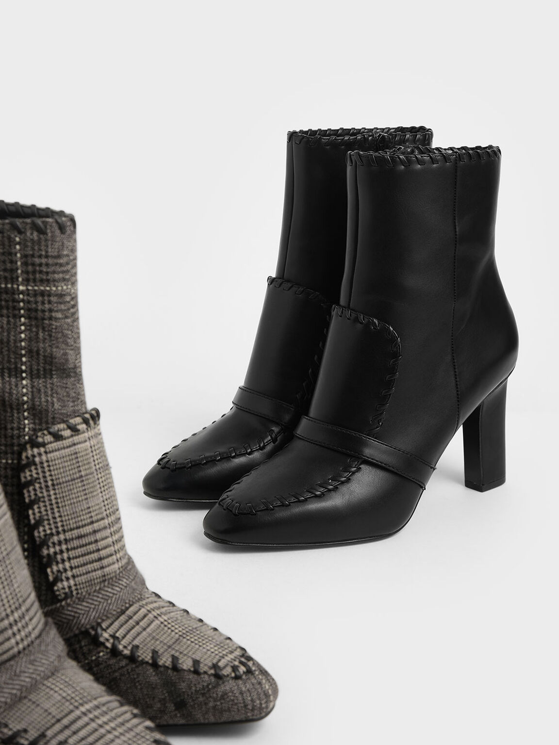 Whipstitch Trim Calf Boots, Black, hi-res