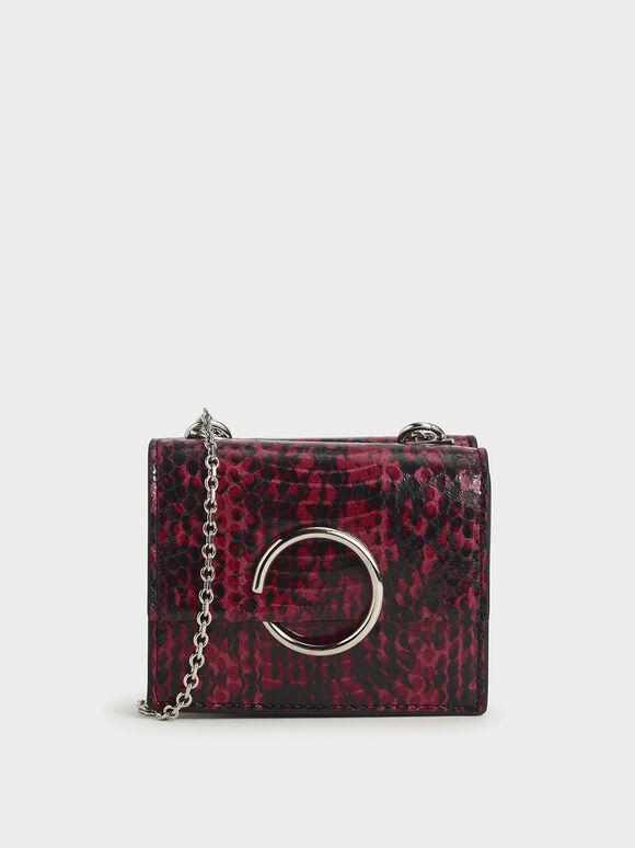 Snake Print Ring Detail Short Wallet, Berry, hi-res