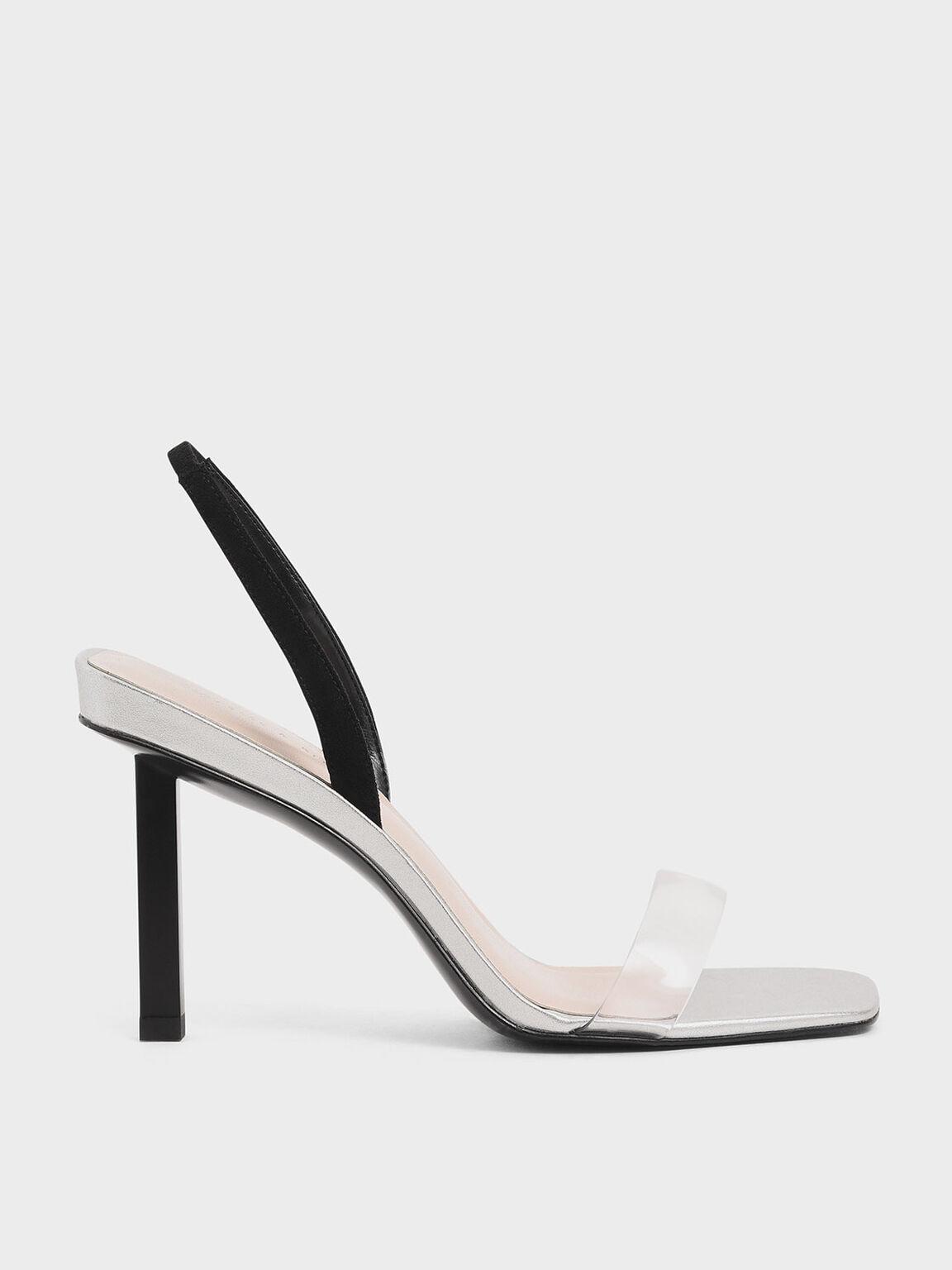 Nude Patent T-Bar Block Heel Sandals - CHARLES & KEITH UK