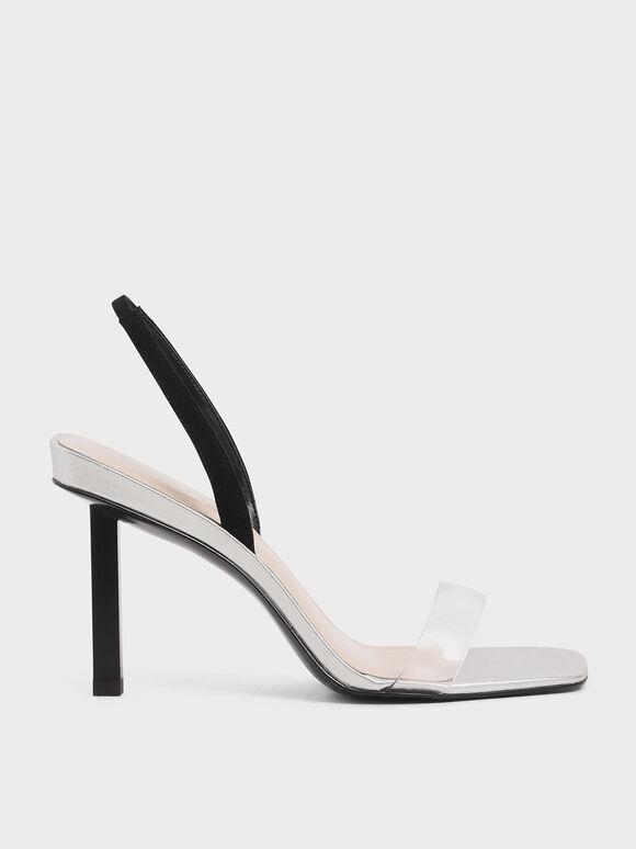 Clear Strap Slingback Heels, Silver, hi-res