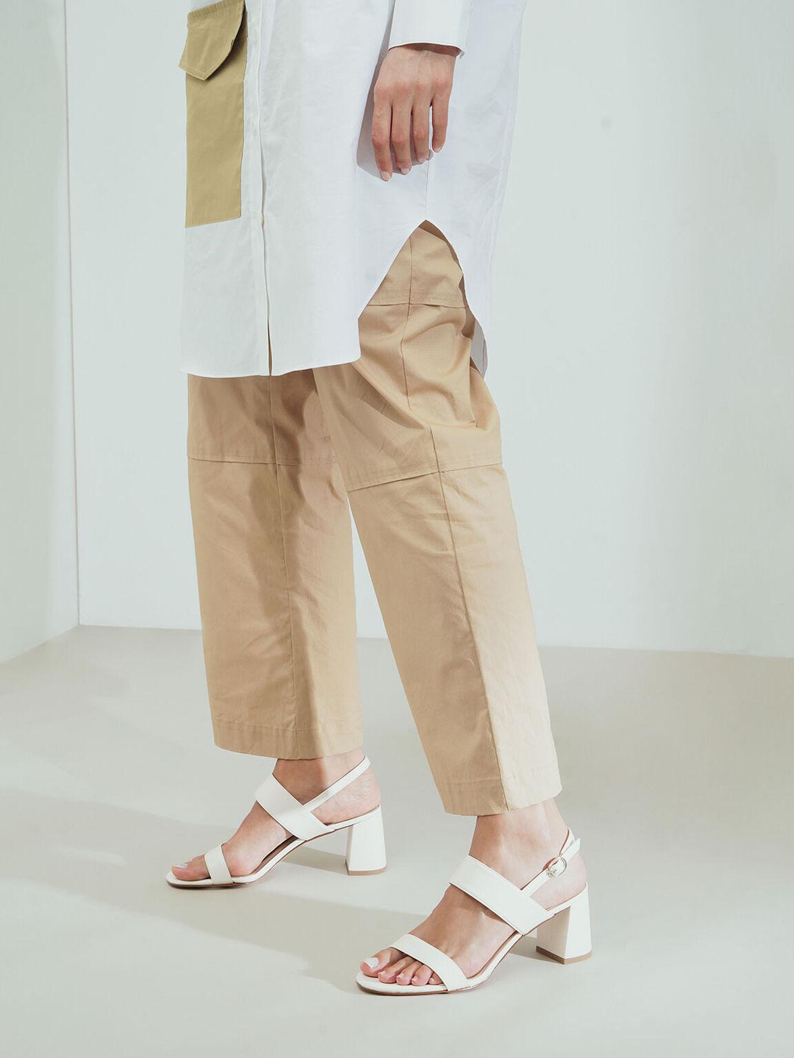 Slingback Heeled Sandals, Cream, hi-res