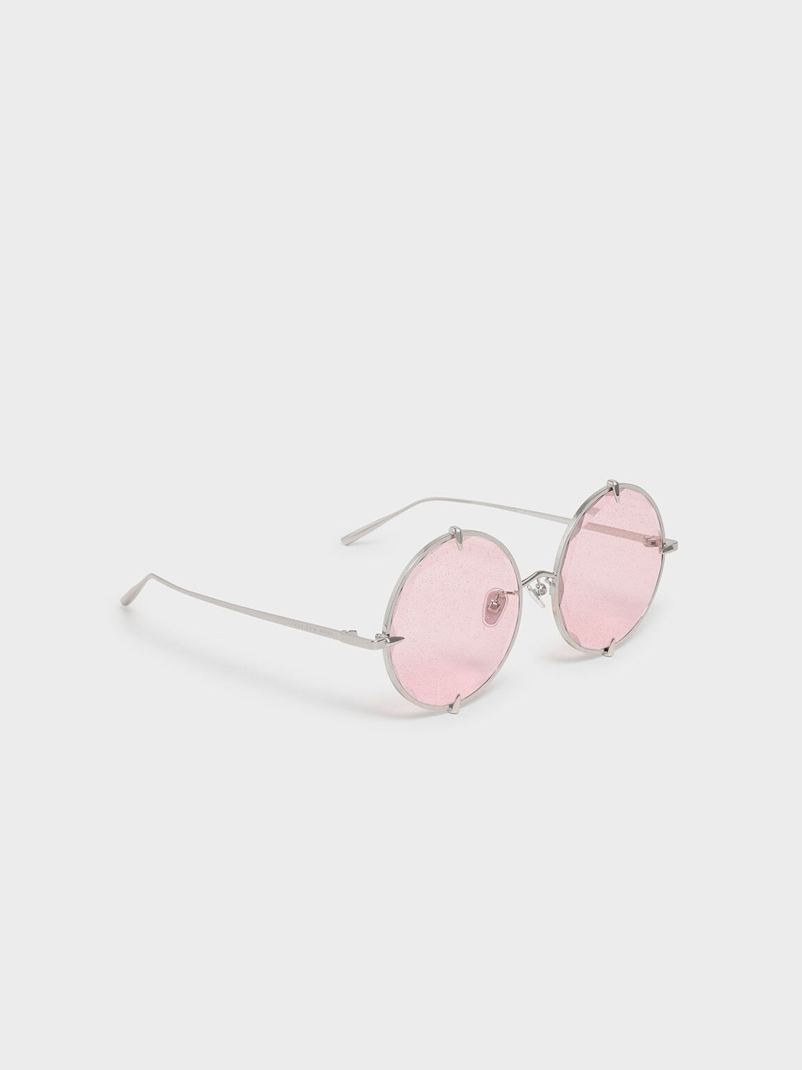 Round Wire Frame Skinny Sunglasses, Pink, hi-res