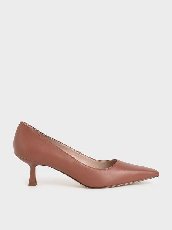 Kitten Heel Court Shoes, Cognac, hi-res