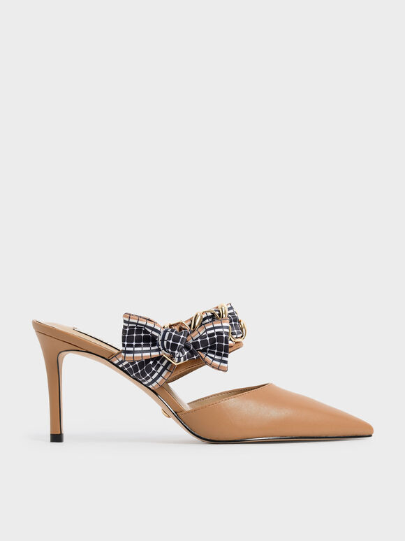 Printed Fabric Bow Leather Mules, Caramel, hi-res