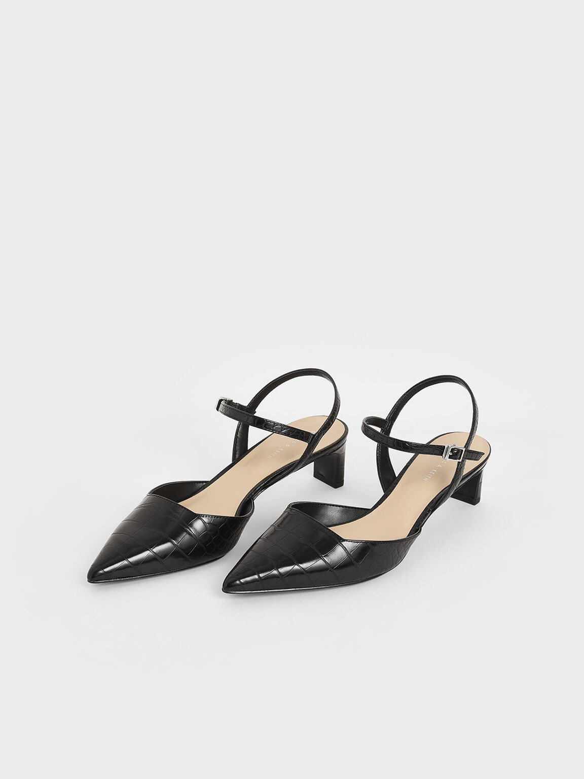 Croc-Effect Ankle Strap Pumps, Black, hi-res