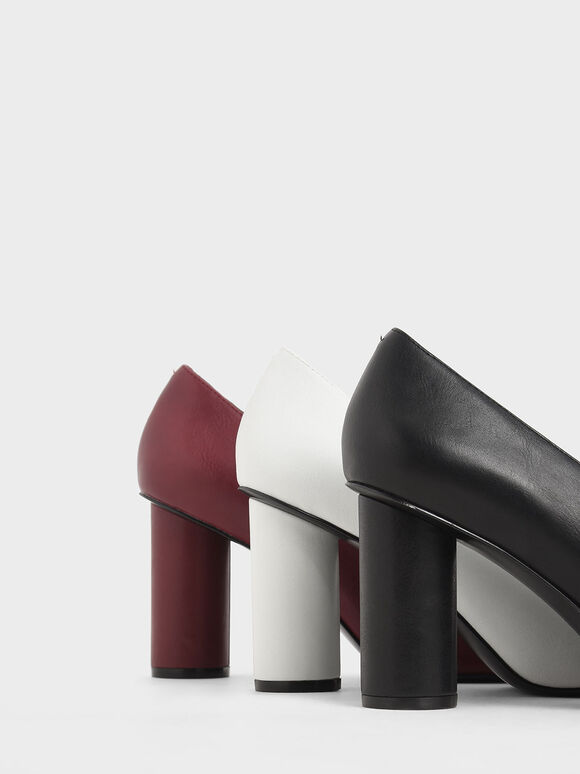 V-Cut Cylindrical Heel Pumps, Black, hi-res