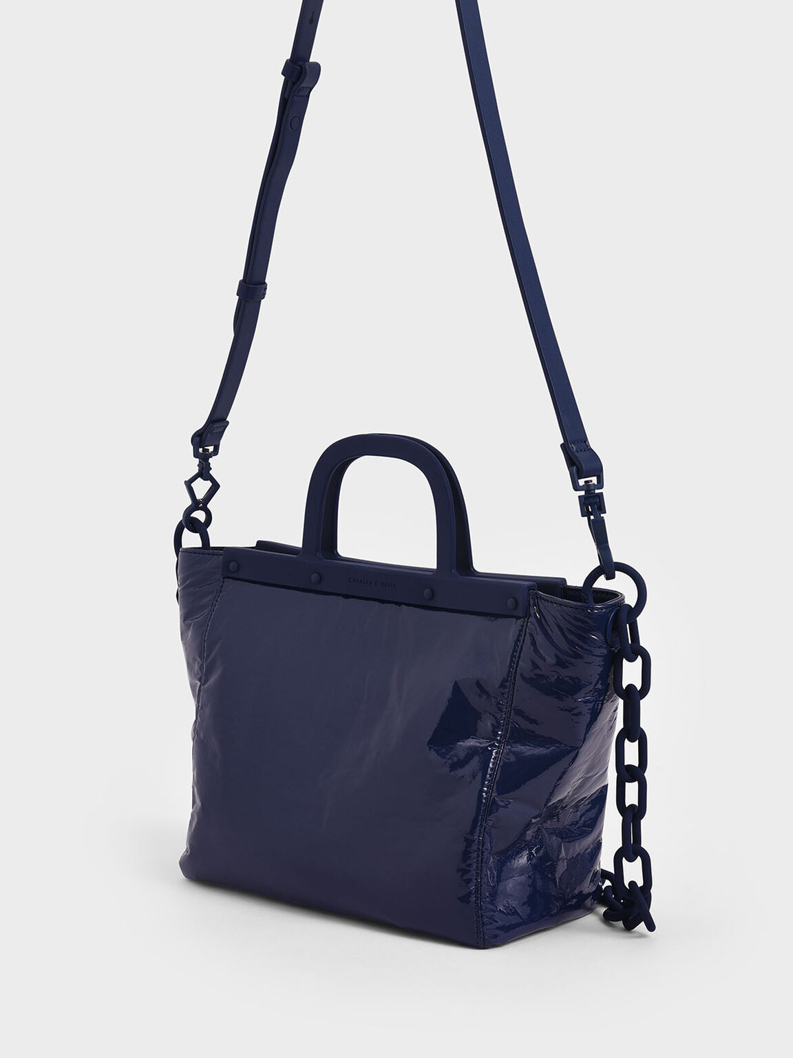 Large Patent Tote Bag, Dark Blue, hi-res