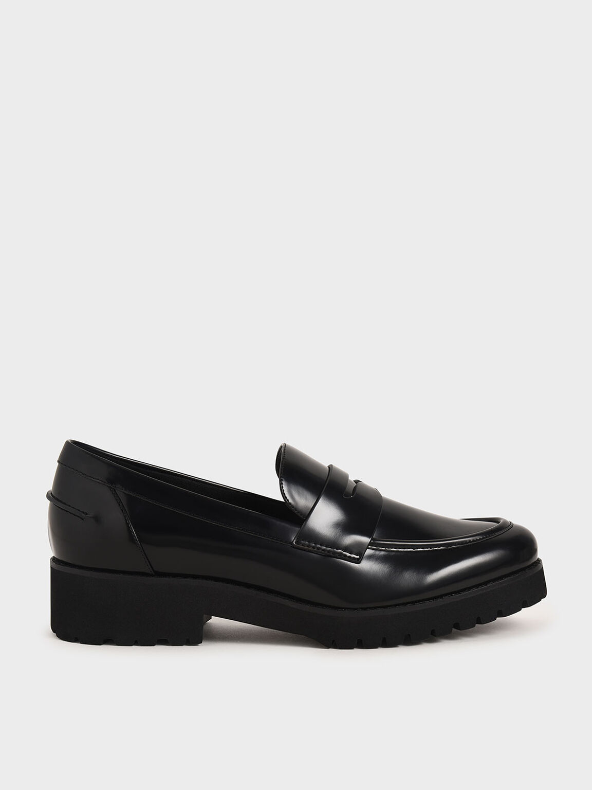 Platform Penny Loafers, Black, hi-res