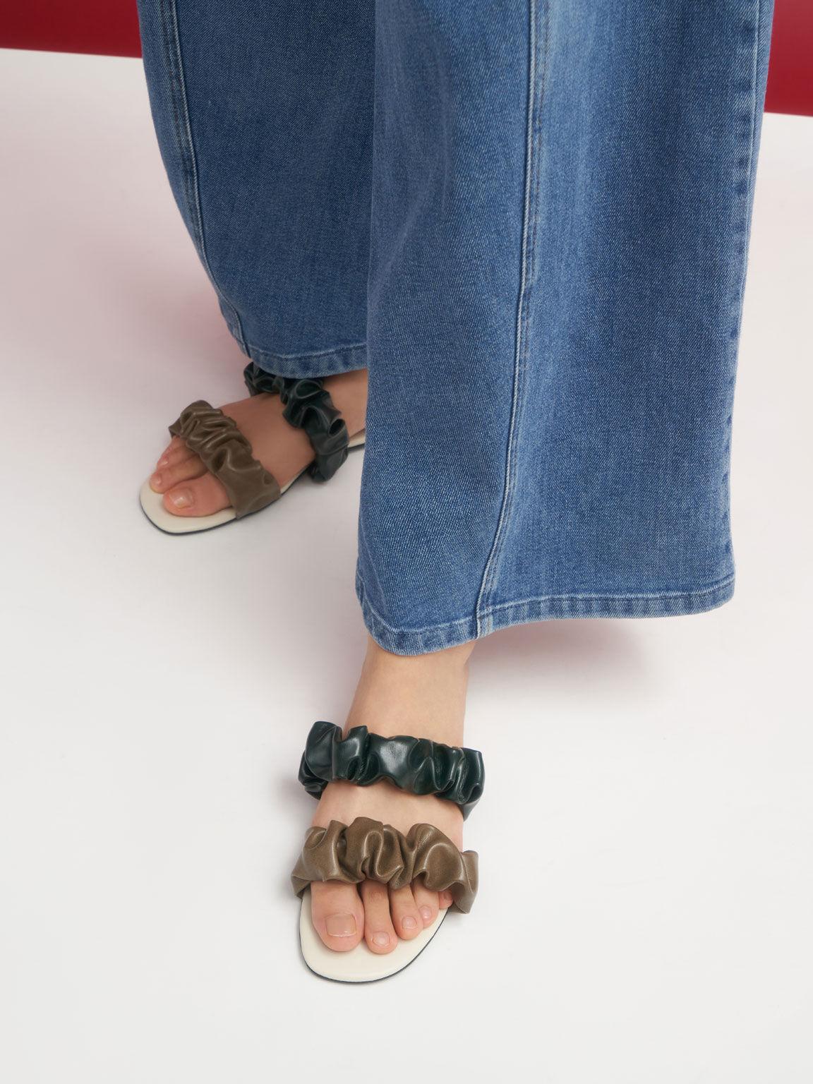 Ruched Strap Slide Sandals, Olive, hi-res