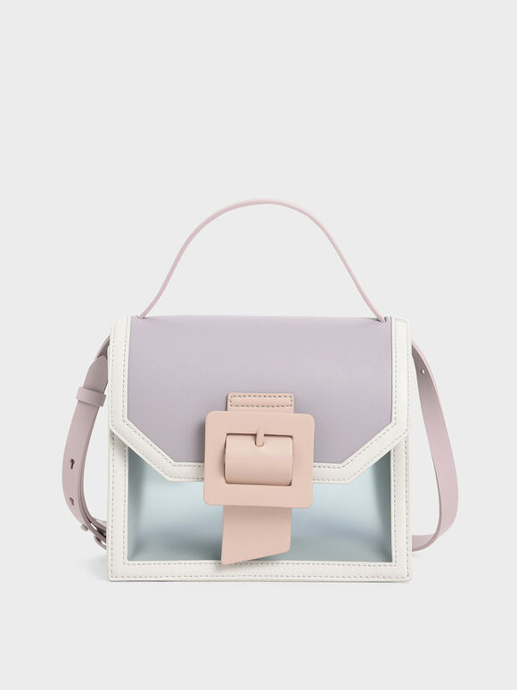 See-Through Effect Buckled Bag, Grey, hi-res