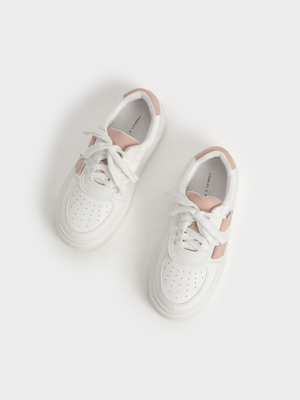 Lace-Up Velcro Sneakers, Nude, hi-res