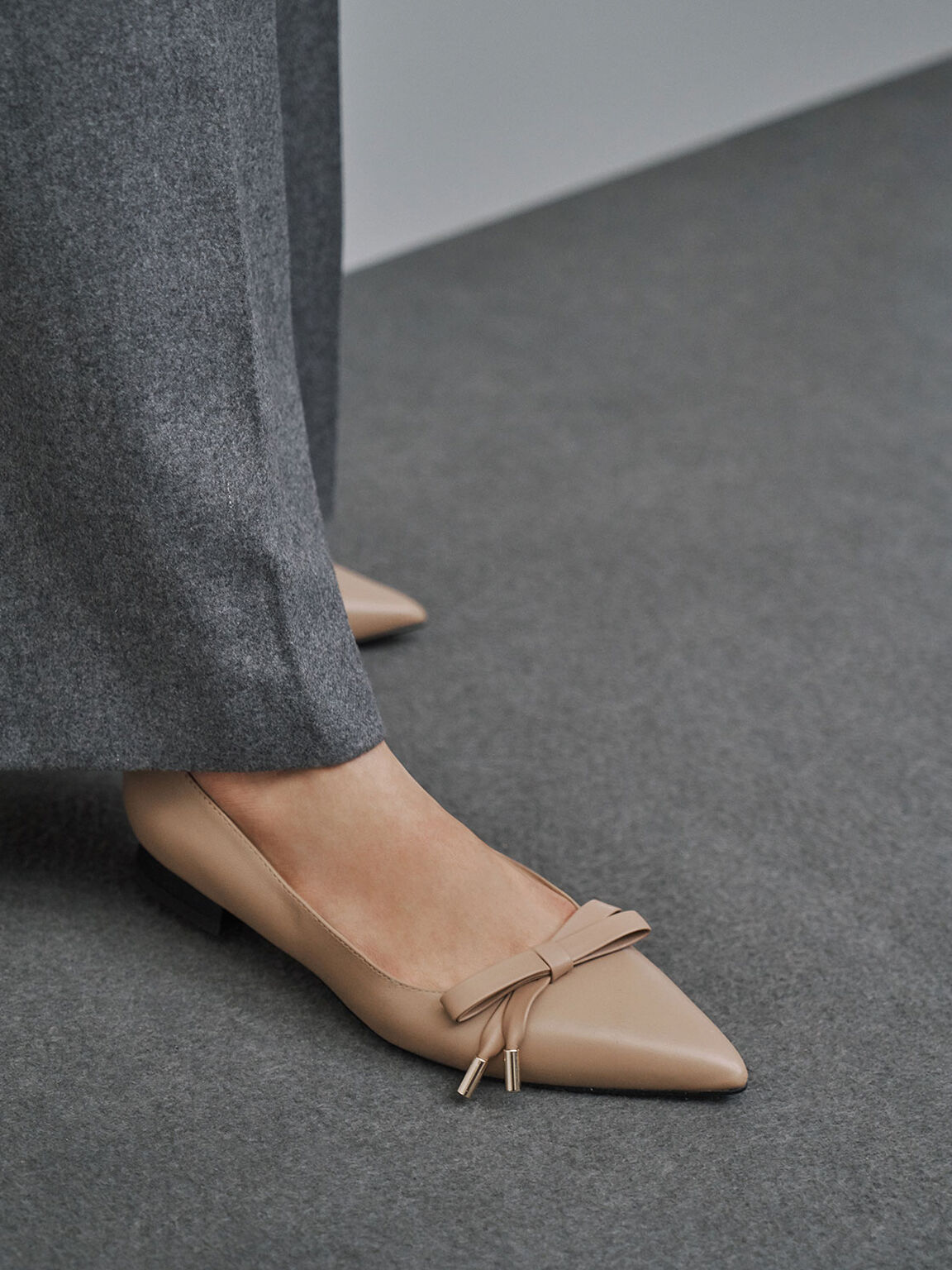 Leather Bow Ballerina Flats, Nude, hi-res