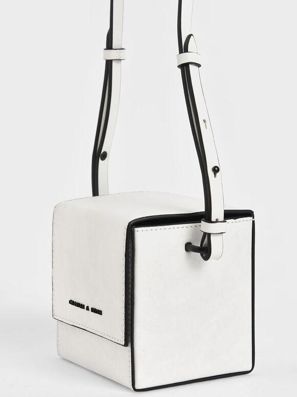 Boxy Crossbody Bag, White, hi-res