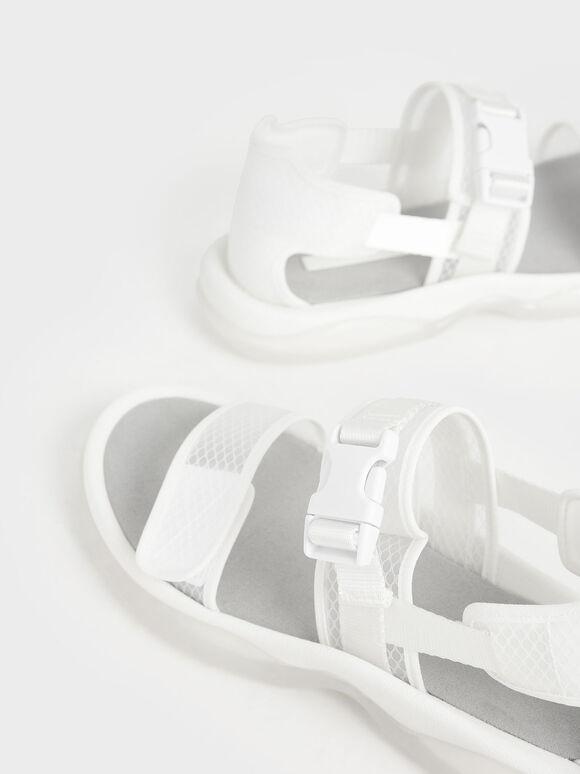 Mesh Chunky Sandals, White, hi-res