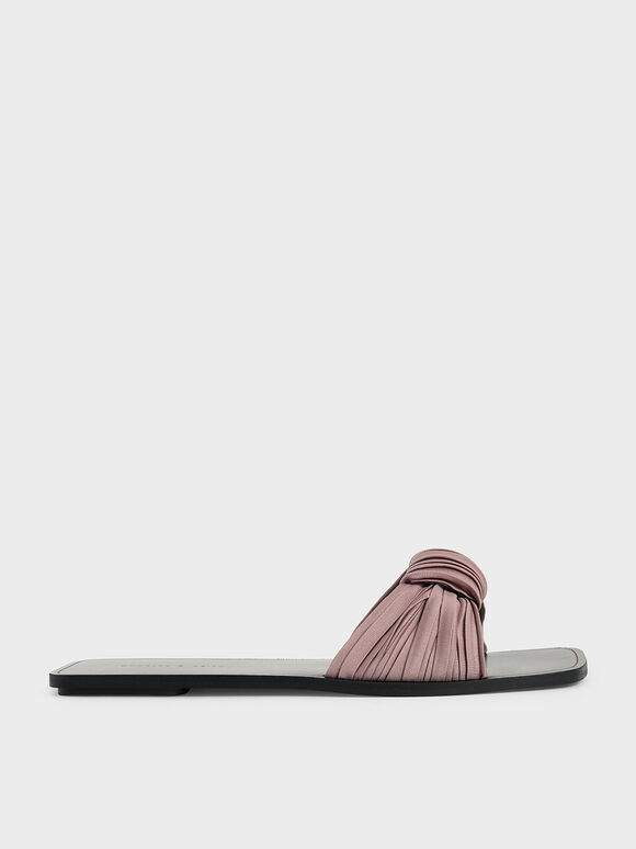 Pleated Fabric Knotted Slide Sandals, Mauve, hi-res