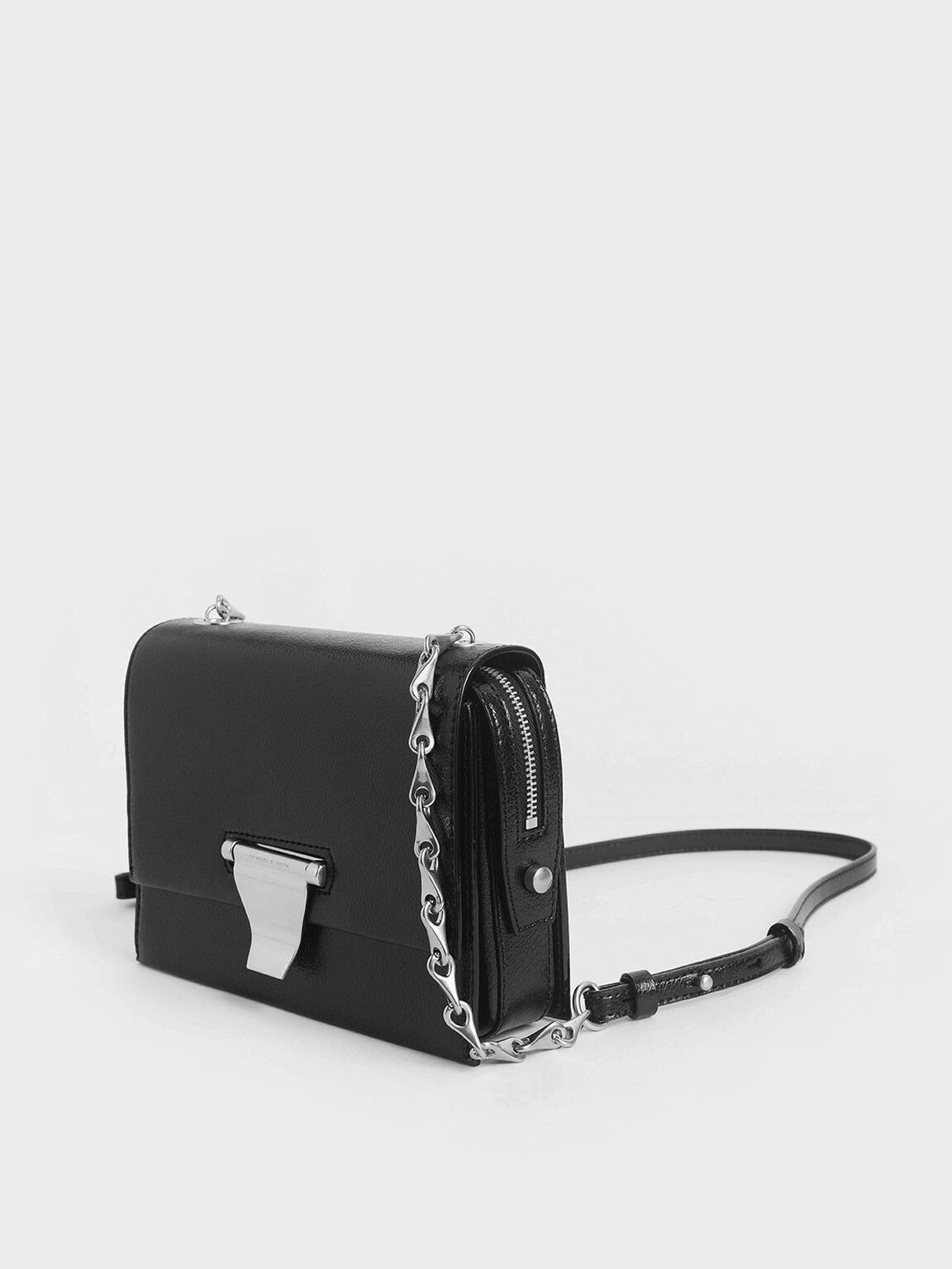 Metal Push-Lock Crossbody Bag, Black, hi-res