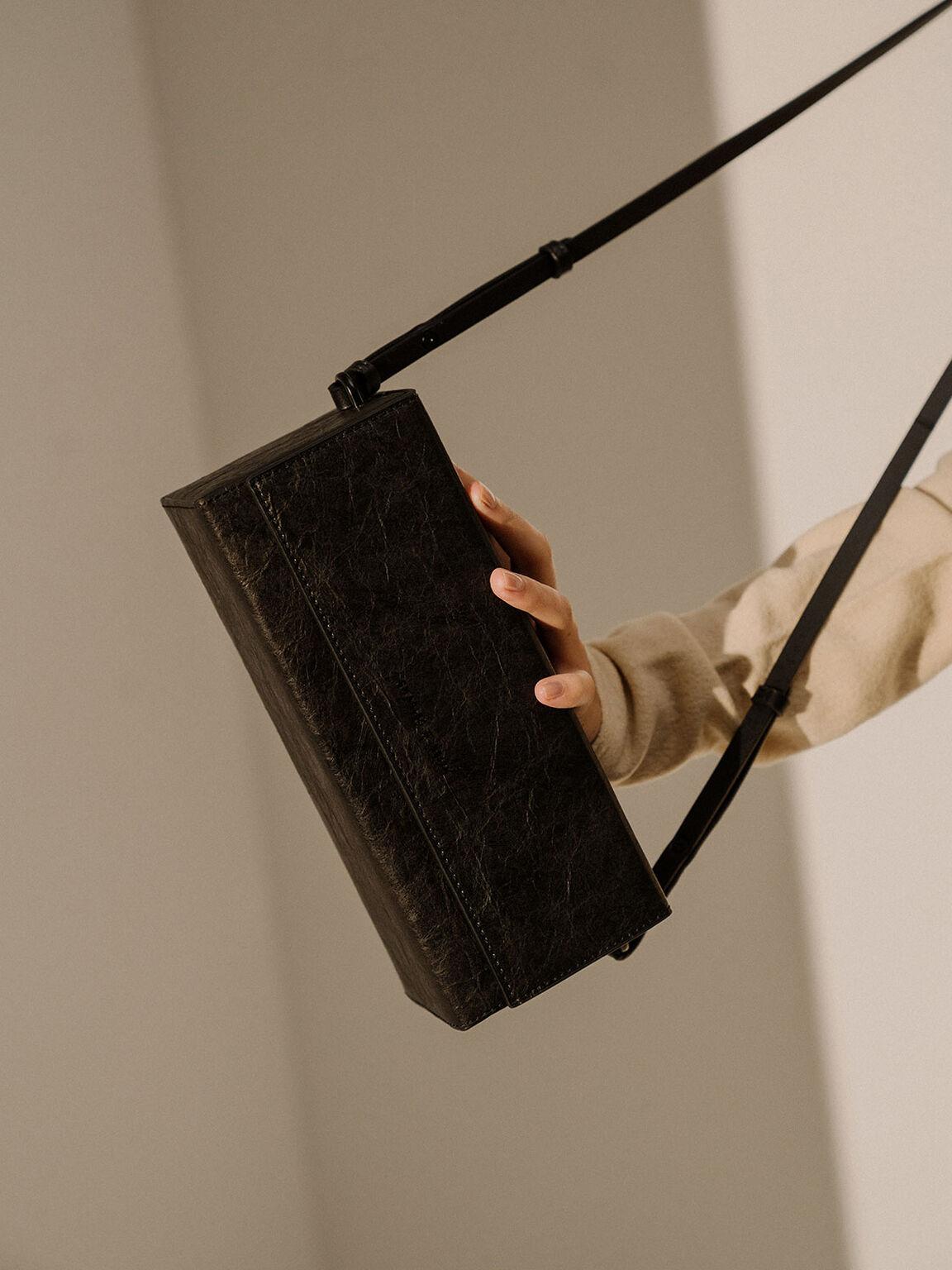 Long Boxy Crossbody Bag, Black, hi-res