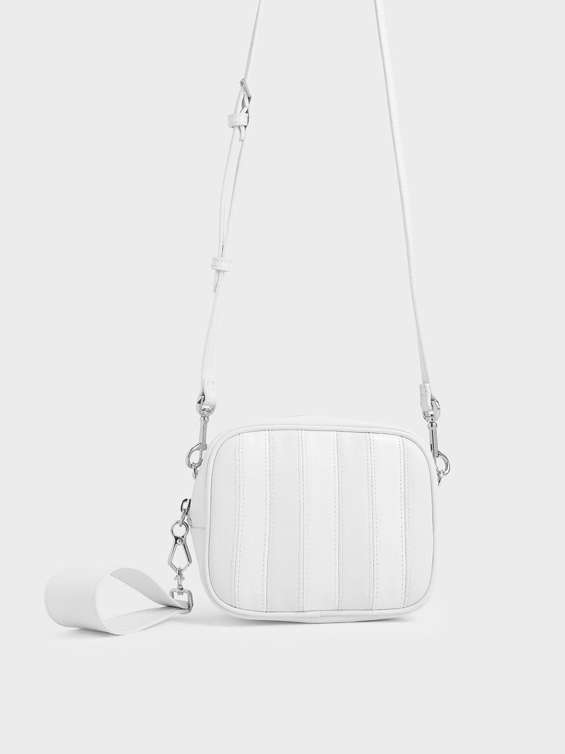 Leather Mini Crossbody Bag, White, hi-res