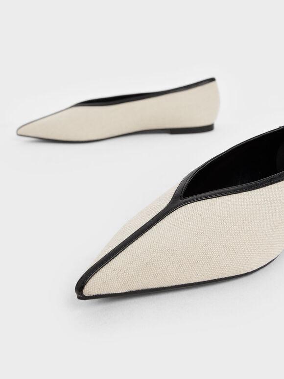 Canvas V-Cut Ballerina Flats, Beige, hi-res