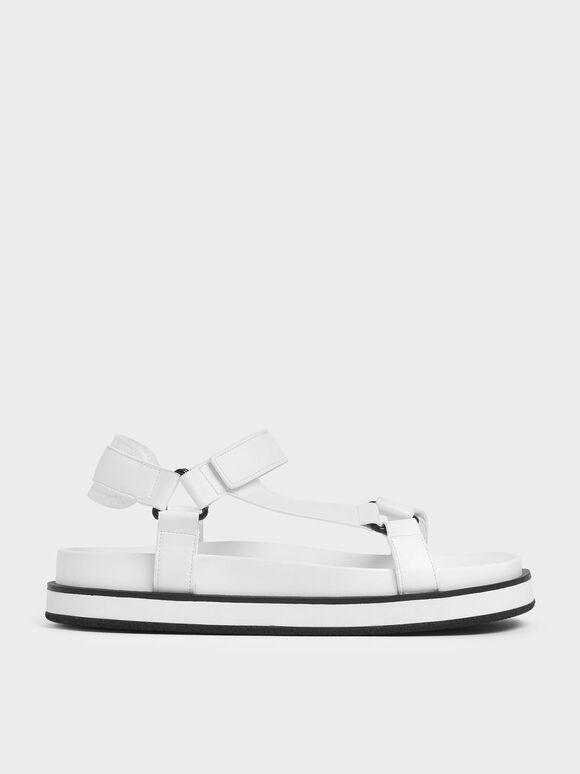 Two-Tone Strap Sandals, White, hi-res