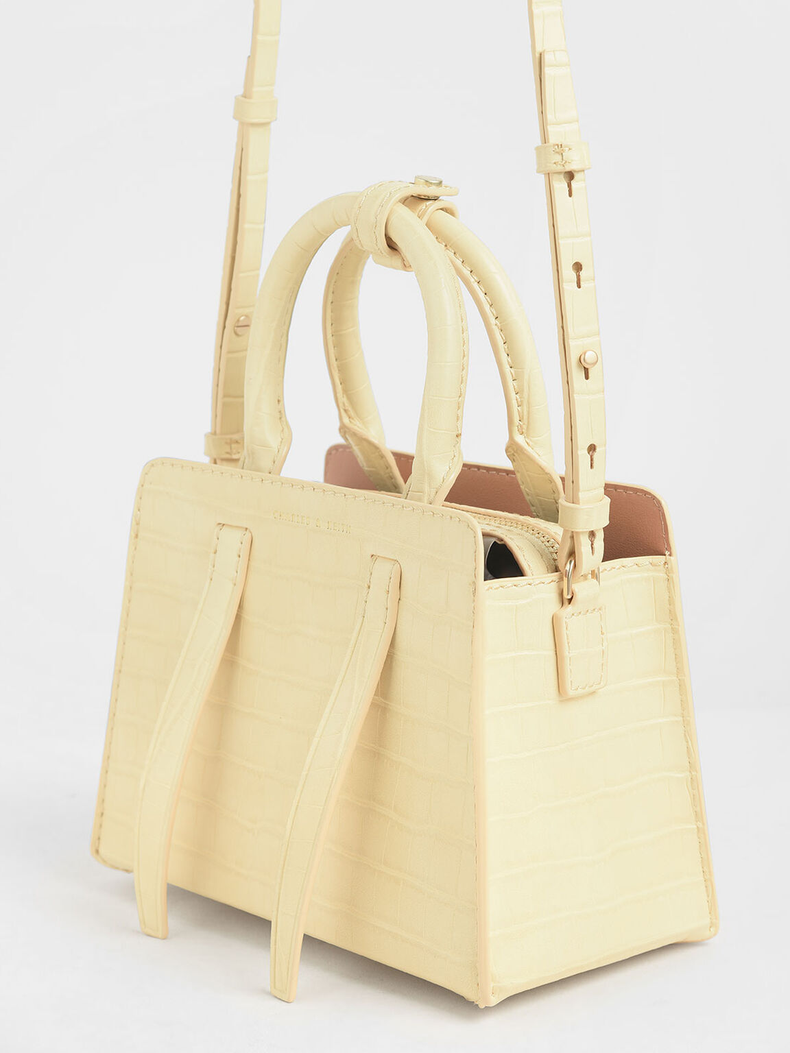 Croc-Effect Top Handle Bag, Yellow, hi-res