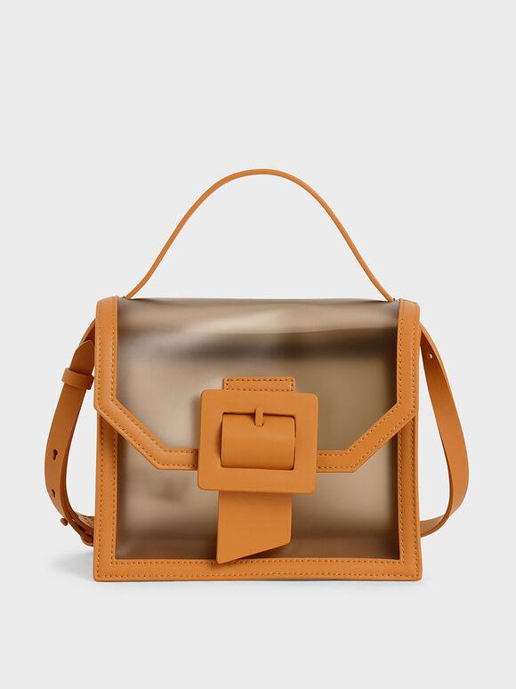 See-Through Effect Buckled Bag, Orange, hi-res