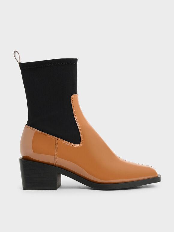 Patent Two-Tone Sock Boots, Caramel, hi-res