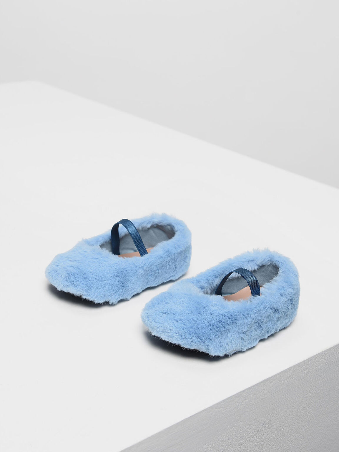 Baby Girls' Furry Mary Jane Shoes, Blue, hi-res
