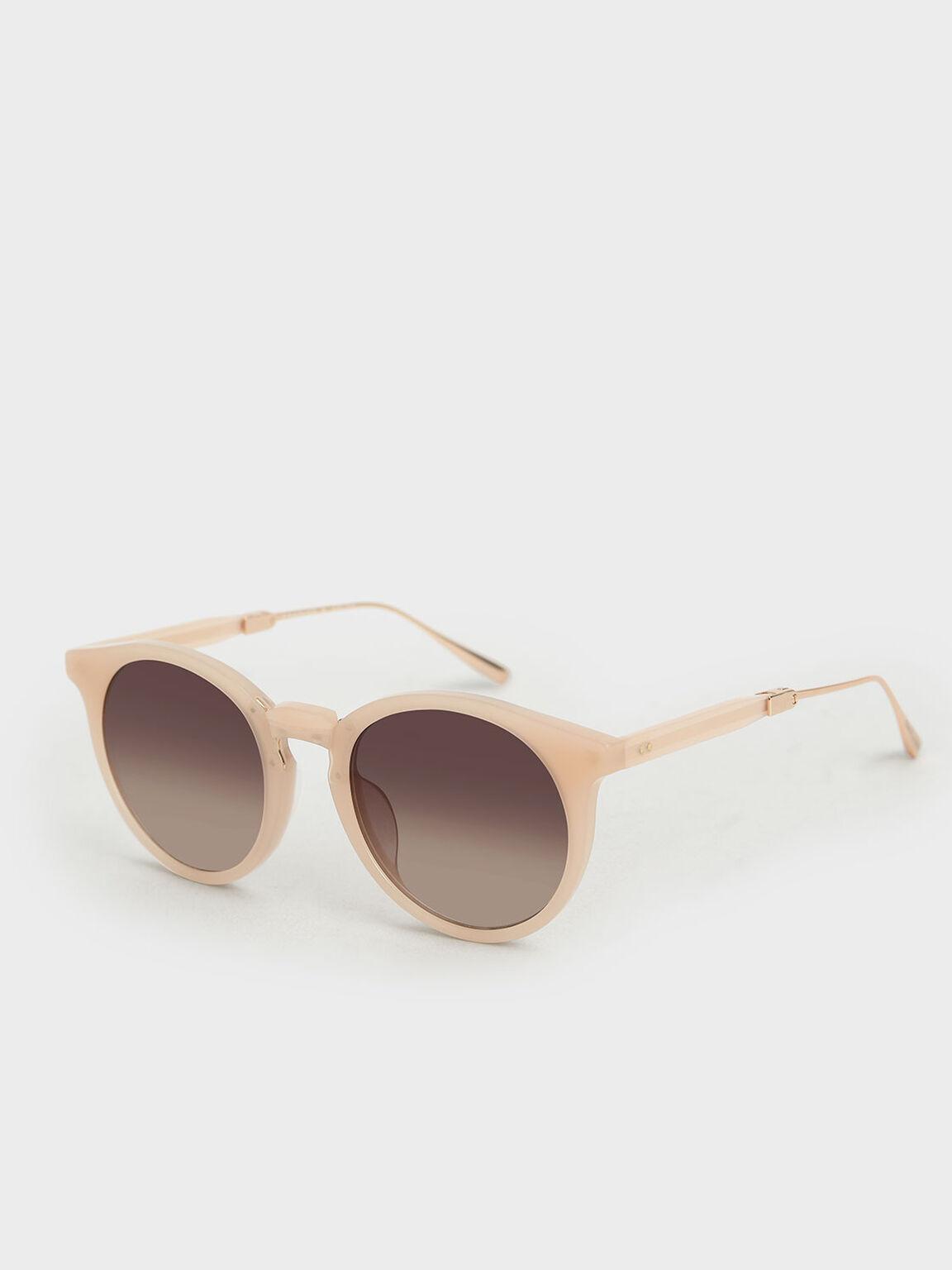 Round Acetate Sunglasses, Pink, hi-res