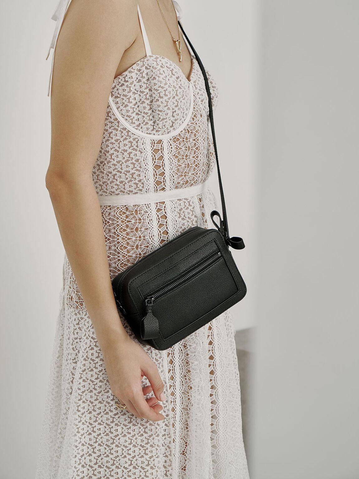 Two-Way Zip Shoulder Bag, Black, hi-res