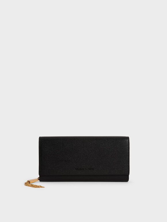 Tassel Detail Long Wallet, Black, hi-res