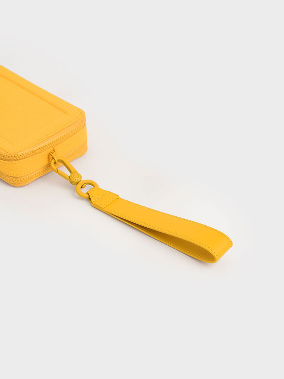 Grosgrain Stitch Trim Long Wallet, Yellow, hi-res