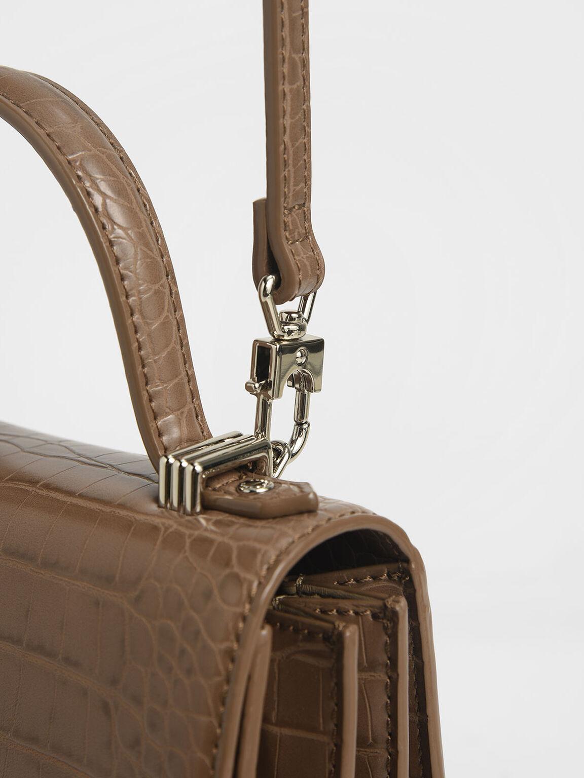 Croc-Effect Embellished-Buckle Bag, Brown, hi-res