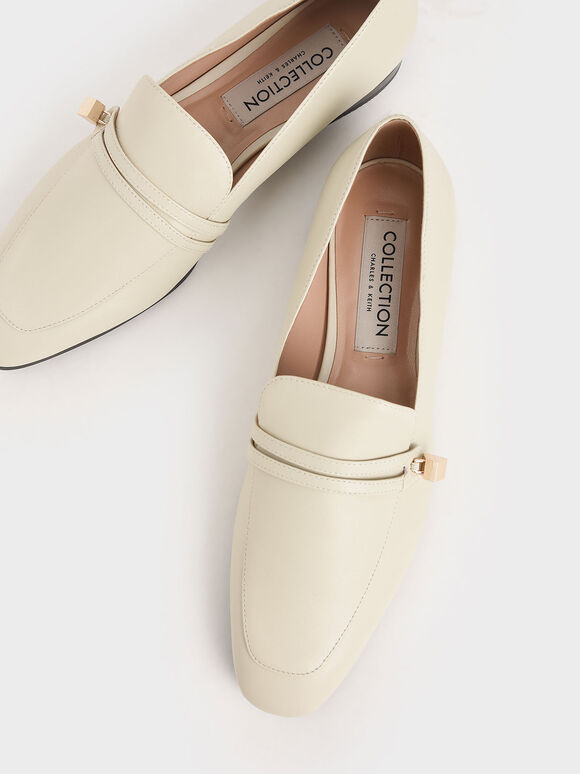 Metallic Accent Leather Loafers, Chalk, hi-res