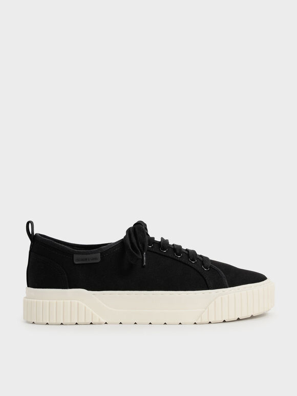 Recycled Cotton Low-Top Sneakers, Black, hi-res