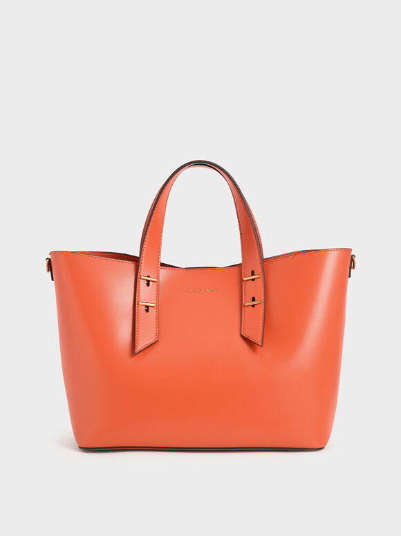 Double Handle Hobo Bag, Orange, hi-res