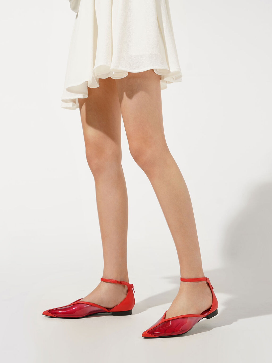 See-Through Effect Flat Pumps, Red, hi-res