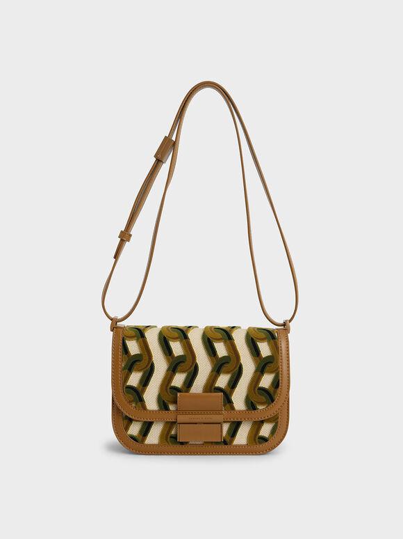 Charlot Printed Canvas Bag, Brown, hi-res