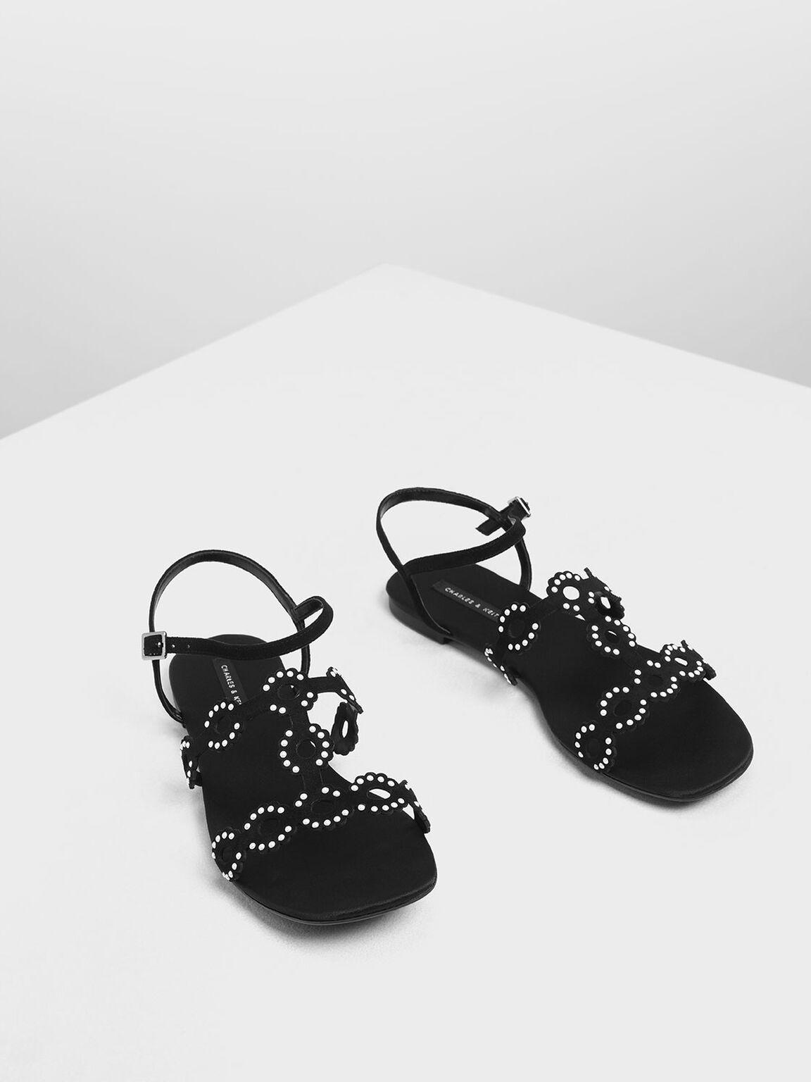 Cut-Out Embellished Sandals, Black, hi-res