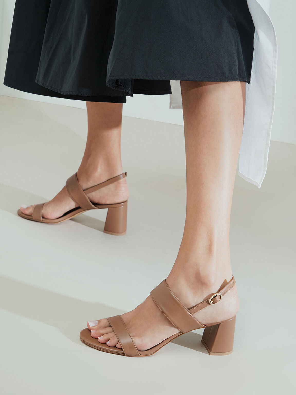 Slingback Heeled Sandals, Brown, hi-res